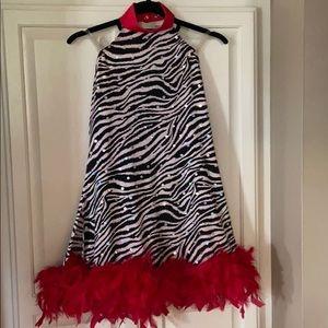 Weissman Dance Costume Zebra w Red feathers XLC